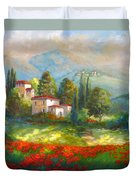 Village With Poppy Fields  Duvet Cover
