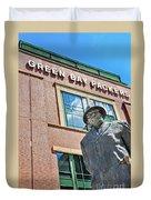 Vince Lombardi Statue Lambeau Field Duvet Cover