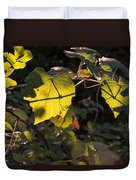Vine Leaves At Sunset Duvet Cover