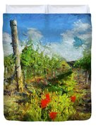 Vineyard And Poppies Duvet Cover