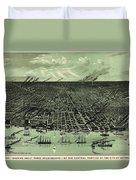Vintage 1889 Detroit Michigan Map Duvet Cover