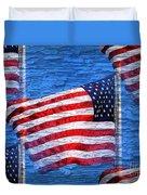 Vintage Amercian Flag Abstract Duvet Cover