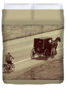 Vintage Amish Buggy And Bicycle Duvet Cover