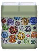 Vintage Antique Buttons Duvet Cover