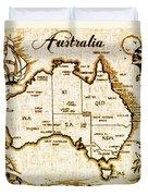Vintage Australia Map Duvet Cover