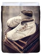 Vintage Baby Boots And Books Duvet Cover