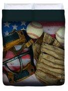 Vintage Baseball American Folk Art Duvet Cover