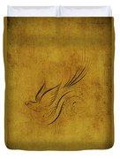 Vintage Bird On Gold Duvet Cover