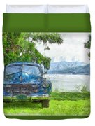 Vintage Blue Caddy At Lake George New York Duvet Cover