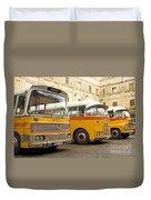 Vintage British Buses In Valetta Malta Duvet Cover