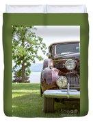 Vintage Caddy At Lake George Duvet Cover