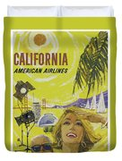 Vintage California Travel Poster Duvet Cover