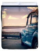 Vintage Car At The Beach  Duvet Cover