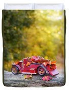 Vintage Car With Autumn Leaves Duvet Cover