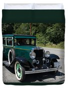 Vintage Cars Green Chevrolet Duvet Cover