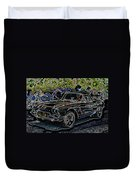 Vintage Chevy Corvette Black Neon Automotive Artwork Duvet Cover