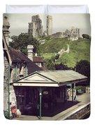 Vintage Corfe Castle Duvet Cover