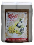 Vintage Cott Fruit Juice Sign Duvet Cover