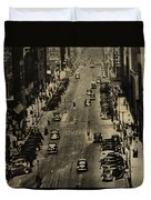 Vintage Downtown View Duvet Cover