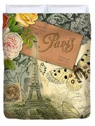 Vintage Eiffel Tower Paris France Collage Duvet Cover