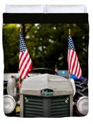 Vintage Ferguson Tractor With American Flags Duvet Cover