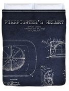 Vintage Firefighter Helmet Patent Drawing From 1932 - Navy Blue Duvet Cover