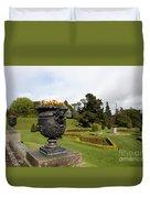 Vintage Flowerpots And Garden View - Powerscourt Garden Duvet Cover