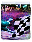 Vintage Formula 1 Race Checkered Flag  Duvet Cover