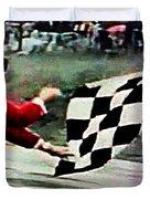 Vintage Formula Race Checkered Flag Duvet Cover