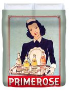 Vintage French Tin Sign Primerose Duvet Cover
