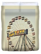 Vintage Funtown Ferris Wheel Duvet Cover