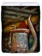 Vintage Garage Oil Can Duvet Cover