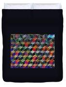 Vintage Geometric Cubes Duvet Cover