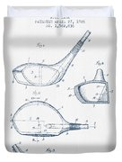 Vintage Golf Club Patent Drawing From 1926 - Blue Ink Duvet Cover