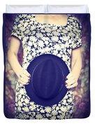 Vintage Hat Flower Dress Woman Duvet Cover