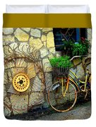 Antique Store Hay Rake And Bicycle Duvet Cover