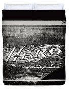 Vintage Hero Sign In Black And White  Duvet Cover
