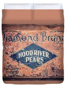 Vintage Hood River Pear Crate Duvet Cover
