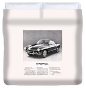 Vintage Karmann Ghia Advert Duvet Cover