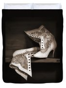 Vintage Lace Boots In Sepia Duvet Cover