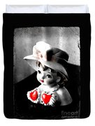 Vintage Lady Head Vase - Black And White With Red Duvet Cover