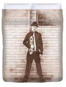Vintage Male Skateboarder Duvet Cover