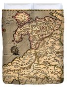 Vintage Map Of Wales 1633 Duvet Cover
