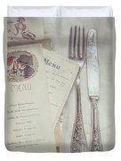Vintage Menu Cards Knife And Fork Duvet Cover