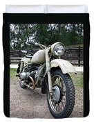 Vintage Military Motorcycle Duvet Cover