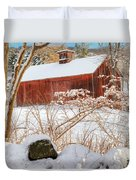 Vintage New England Barn Portrait Square Duvet Cover by Bill Wakeley