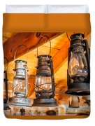 Vintage Oil Lanterns Duvet Cover by Paul Freidlund