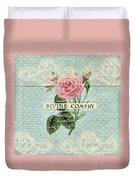 Vintage Pink Roses Duvet Cover