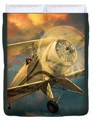 Vintage Plane In Flight Duvet Cover
