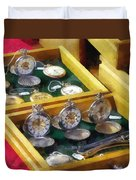 Vintage Pocket Watches For Sale Duvet Cover